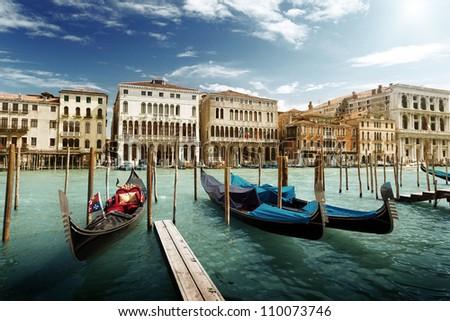 gondolas in Venice, Italy. - Shutterstock ID 110073746