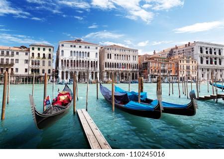 gondolas in Venice, Italy. #110245016