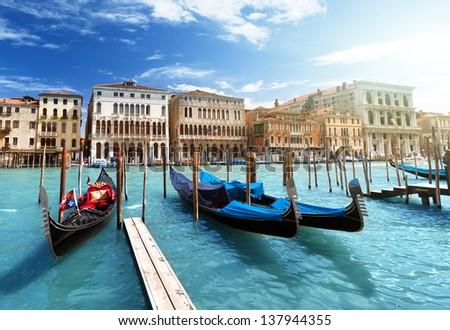 gondolas in Venice, Italy #137944355