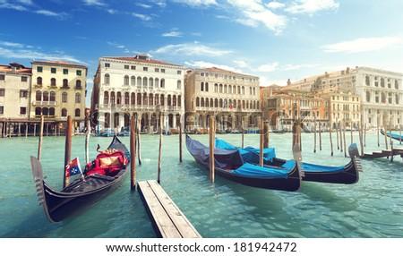 gondolas in Venice, Italy.  #181942472
