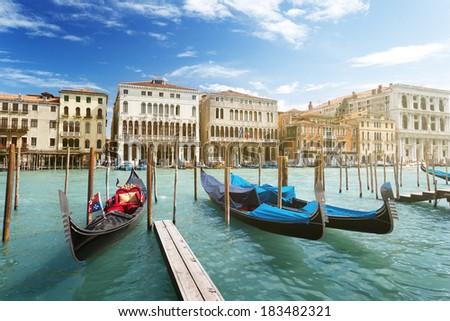 gondolas in Venice, Italy.  #183482321
