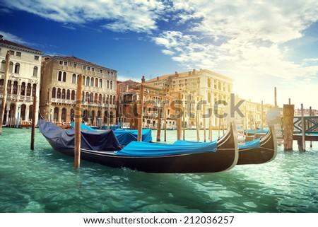 gondolas in Venice, Italy.  #212036257