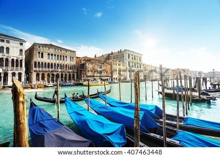 gondolas in Venice, Italy.  #407463448