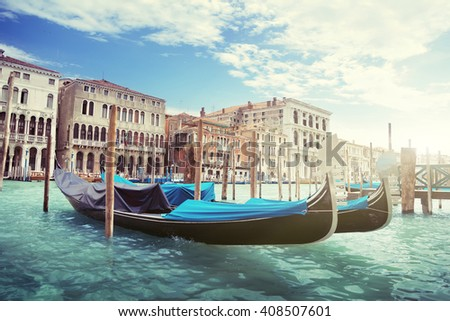 gondolas in Venice, Italy.  #408507601
