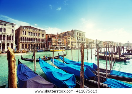 gondolas in Venice, Italy.  #411075613