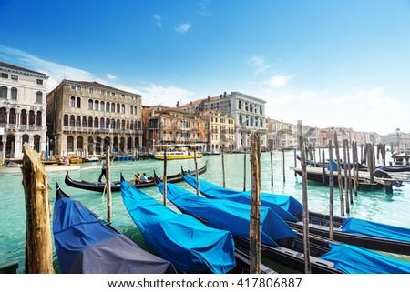 gondolas in Venice, Italy.  #417806887