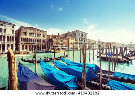 gondolas in Venice, Italy.  #419402182