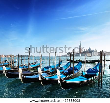 Gondolas on Grand Canal and San Giorgio Maggiore church in Venice #92366008
