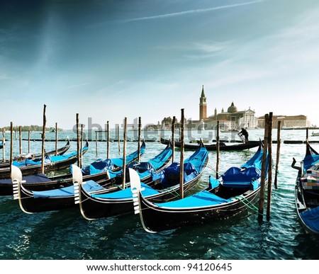 Gondolas on Grand Canal and San Giorgio Maggiore church in Venice #94120645
