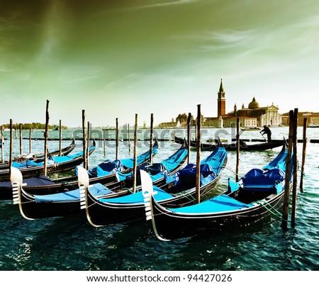 Gondolas on Grand Canal and San Giorgio Maggiore church in Venice #94427026