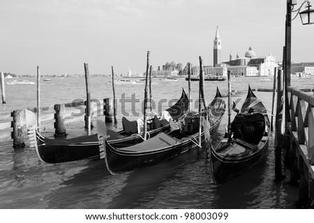 Gondolas on Grand Canal and San Giorgio Maggiore church in Venice #98003099