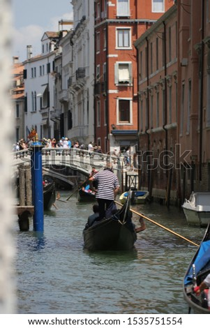 Gondolas on Grand Canal Venice surrounding by historical attractive building, Venice, Italy, Commercial advertisement for day trip boat in Europe #1535751554