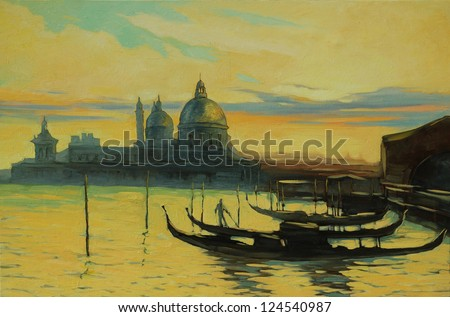 gondolas on landing stage in venice, painting by oil paints , illustration
