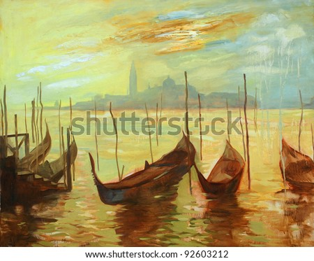 gondolas on landing stage in venice. painting by oil paints on a canvas, an illustration