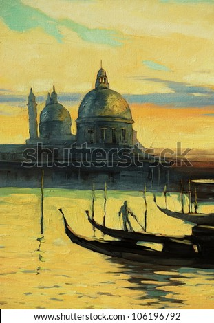 gondolas on landing stage in venice, painting by oil paints on a canvas, illustration
