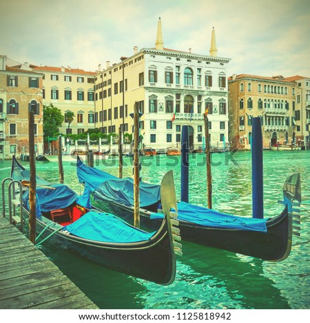 gondolas on the grand canal in...