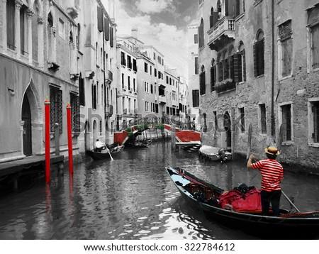 Gondolas on Venice in oil painting style