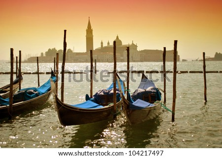 Gondolas on water in Venice, Italy