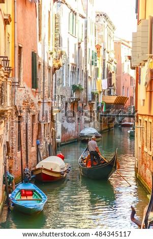 Gondolas sailing in canal, Venice, Italy #484345117