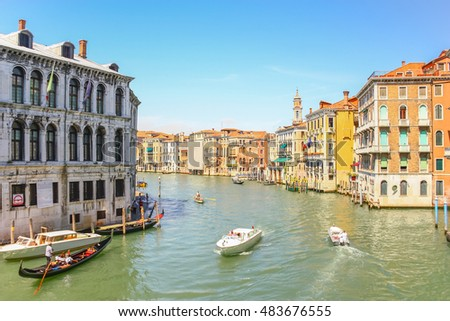 Gondolas sailing in Grand canal, Venice, Italy #483676555