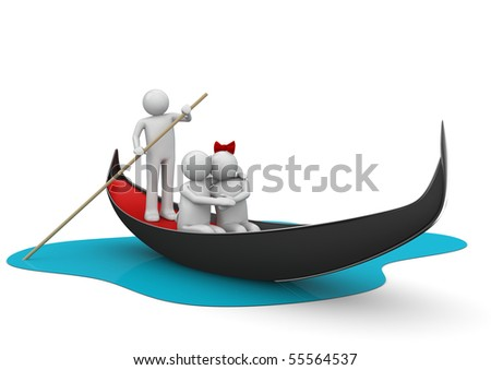 Gondolier and romantic couple in gondola - Workers / Lifestyle collections
