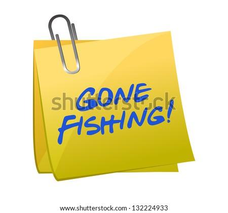 gone fishing concept on a post-it illustration design