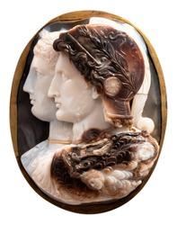 Gonzaga Cameo. Hellenistic engraved gem; a cameo of the capita jugata, cut out from sardonyx.