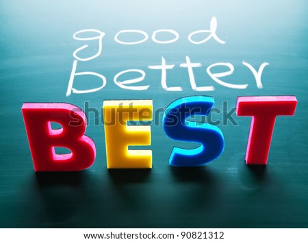 Good, better and best, colorful words on blackboard