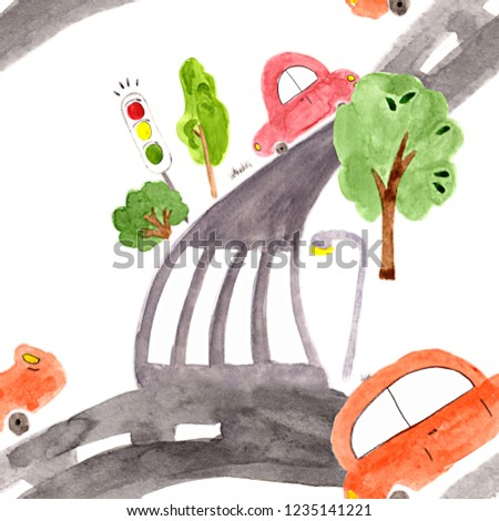Good, big road with turns and crossroads. The gray roadbed, on which the colorful cars drive. Seamless pattern for fabric, wrapping paper. Cartoon watercolor style.