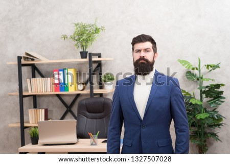 Good boss is good leader. Man bearded hipster boss looking at you with attention. Boss standing in office. Boss receive complaints. Executive director and ceo are leadership titles in organizations. #1327507028