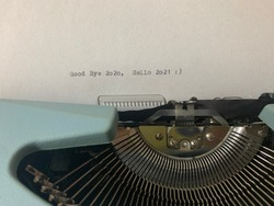 Good bye 2020 hello 2021 by typewriter