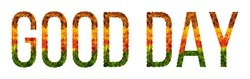 good day word is written with leaves white isolated background, banner for printing, creative illustration goodday colored leaves.