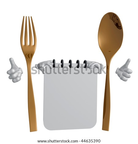 Good diet schedule with spoon and fork character illustration