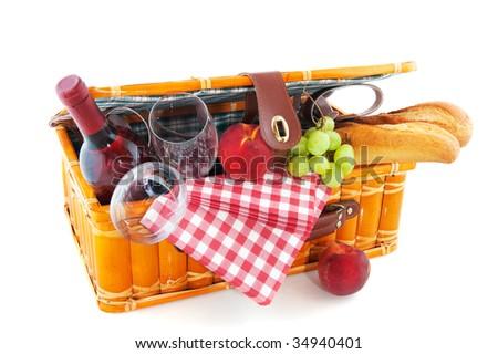 Good filled picnic basket for eating outdoor