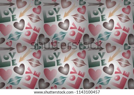 Good for cards, posters, wrapping paper. Hand drawn raster seamless pattern with XOXO in green, white and pink colors. Hipster symbols of arrow, hearts, kissing lips, love text.