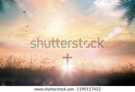 Good Friday concept: Silhouette cross on meadow autumn sunrise background #1190117452