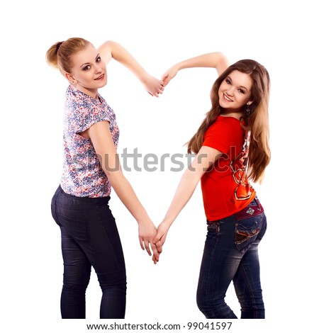 good friends make a love symbol with their hands
