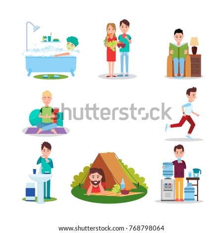 Good habits  illustrations with people who eat natural food, go jogging, meditate, read books, maintain hygiene, relax on nature, drink water.