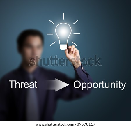 good idea can change threat to opportunity writing by business man