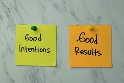 Good Intentions or Good Results write on sticky note isolated on Office Desk