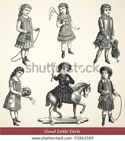 "Good Little Girls - Vintage engraved illustration - ""La mode illustree"" by Firmin-Didot et Cie in 1882 France"