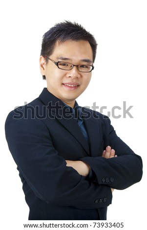 Good looking Asian businessman isolated on white background - stock photo