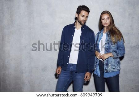 Good looking couple in denim, portrait