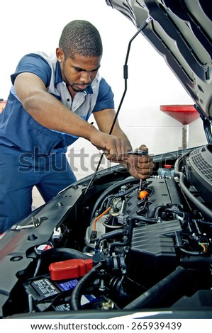 Good Looking Mechanic Working On Car Engine
