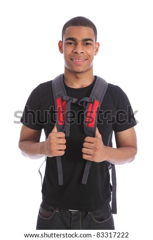 Good looking young black teenage student boy wearing red backpack ready for school with a smile. Shot against white background.