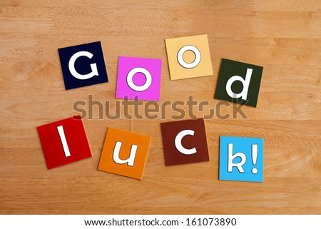 Good Luck Best Wishes Sign Or Greeting Card Template Design Or