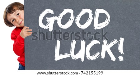 Good luck success successful test wish wishing child kid young little boy isolated on a white background #742155199
