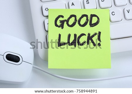 Good luck success successful test wish wishing office business concept mouse computer keyboard #758944891