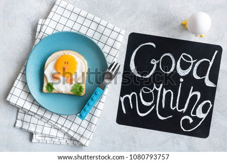 Good Morning Breakfast For Kids. Egg Sandwich Chicken. Creative Food Art Sandwich. Cute Funny Chicken Toast For Children. Good Morning Chalkboard. Top view