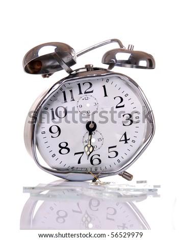 Good morning - Broken alarm clock - stock photo